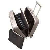 Chic interior equipped with practical packing tools such as mesh divide and pockets.